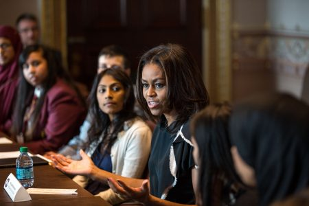 First Lady Michelle Obama participates in a roundtable with students from London's Mulberry School for Girls in the Eisenhower Executive Office Building of the White House, Nov. 17, 2015. (Official White House Photo by Chuck Kennedy)